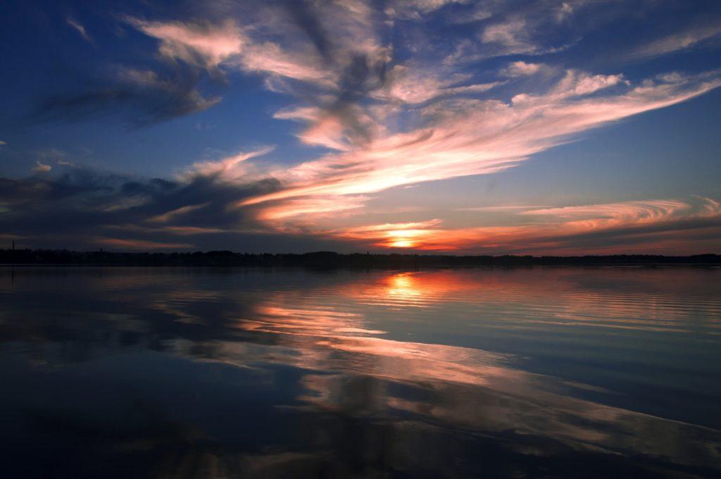 Sunrise on the beautiful lake